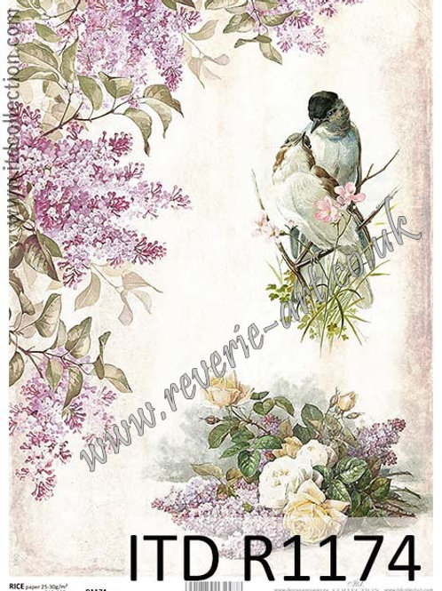A4 rice paper R1174 Vintage flowers and birds
