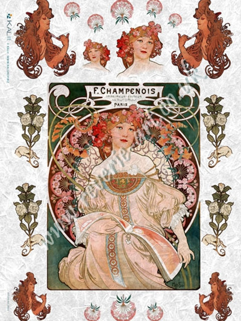 Kalit Large rice paper 32x45 cm Art Nouveau Mucha