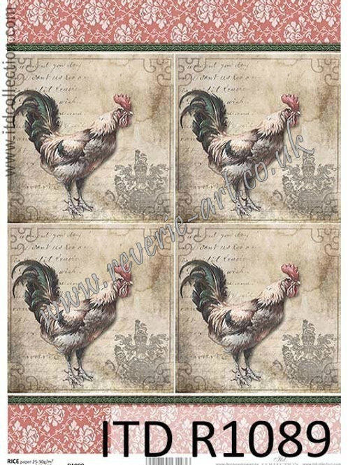 A4 rice paper R1089 Vintage rooster