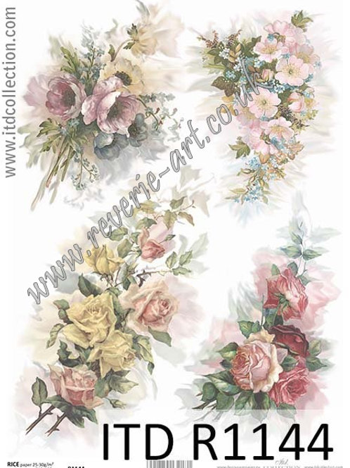 A4 rice paper R1144 Vintage roses