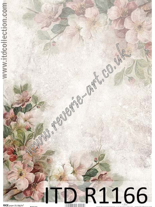 A4 rice paper R1166 Vintage spring flowers
