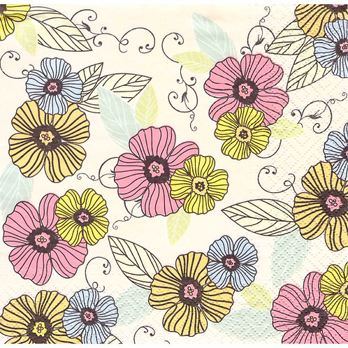 Napkins N1079 Lunch size 33x33cm Flowers pattern