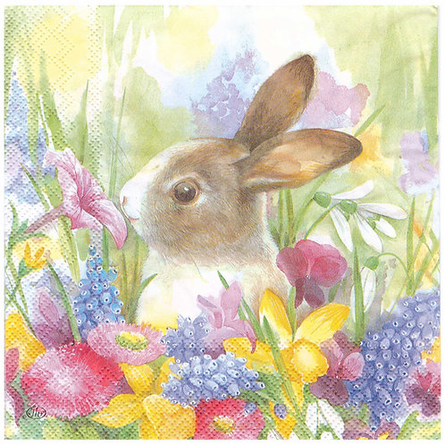 Napkins N934 Lunch size 33x33cm Bunny and flowers