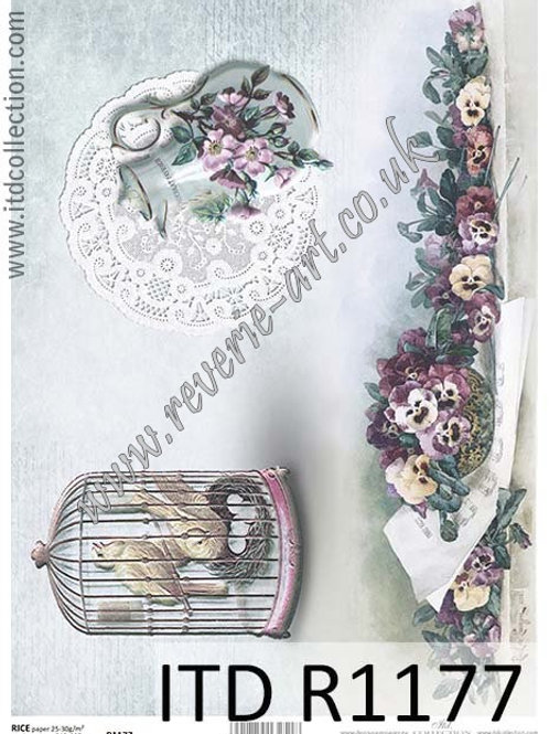 A4 rice paper R1177 Vintage flowers and birds