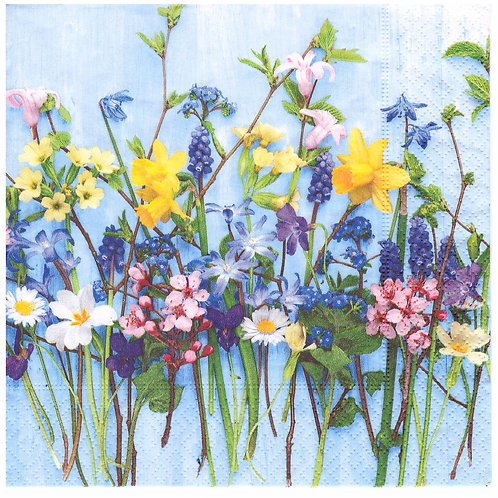 Napkins N1179 Lunch size 33x33cm Spring flowers blue