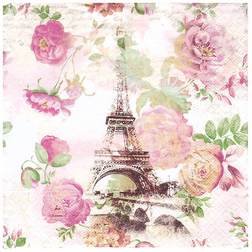 Napkins Lunch size 33x33cm Roses Paris