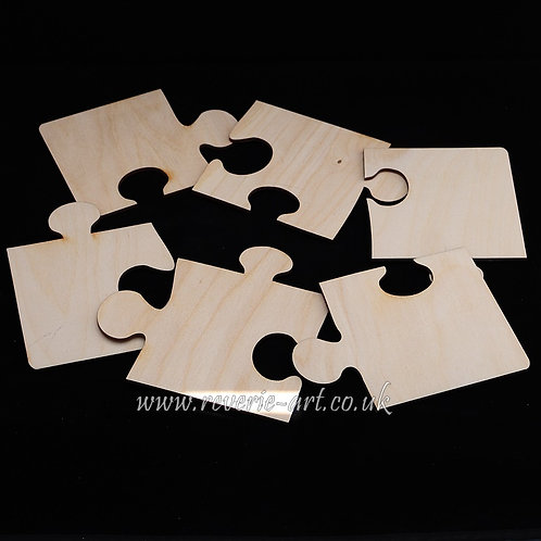 Set of 6 Wooden jigsaw puzzle coasters