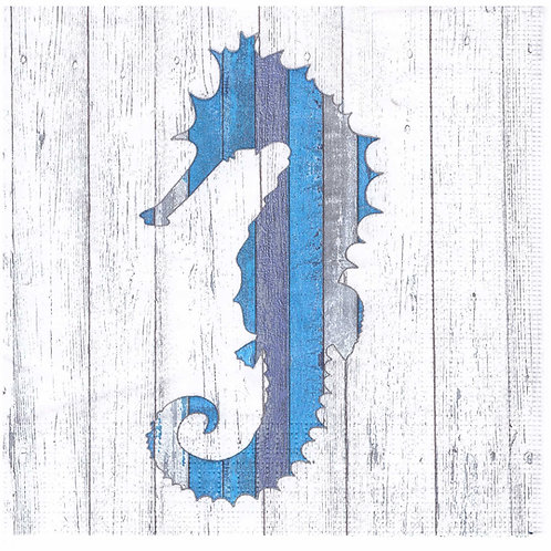 Napkins N1004 Lunch size 33x33cm Sea, seahorse, planks