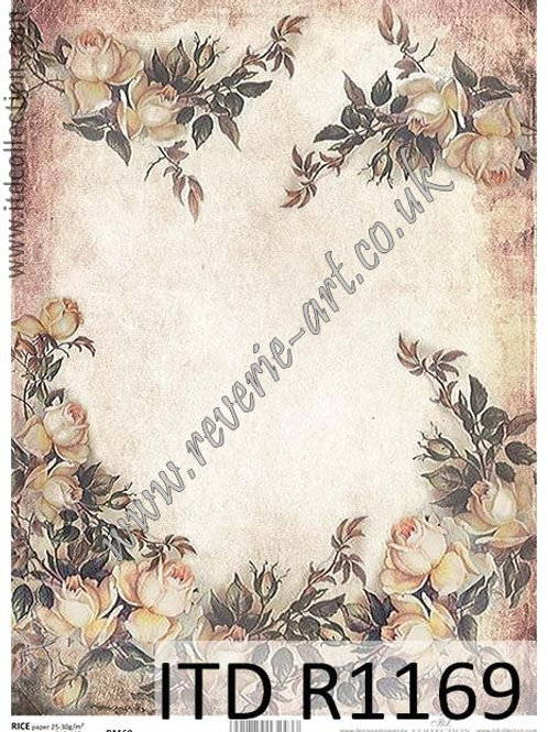 A4 rice paper R1169 Vintage roses