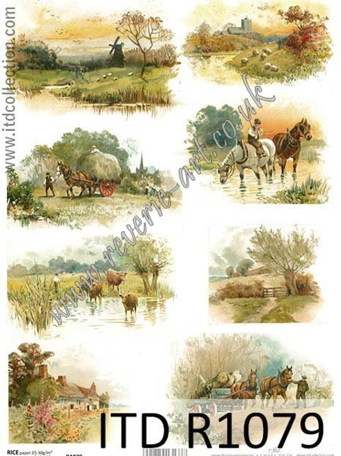 A4 rice paper R1079 Vintage countryside