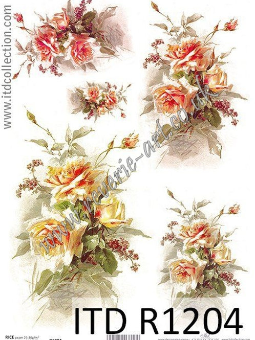 A4 rice paper R1204 Vintage roses
