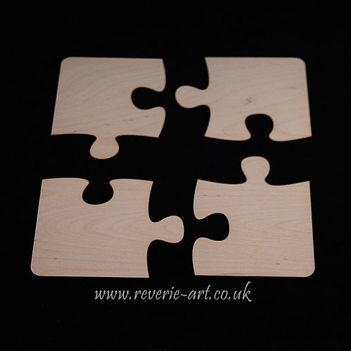 Set of 4 small Wooden jigsaw puzzle coasters