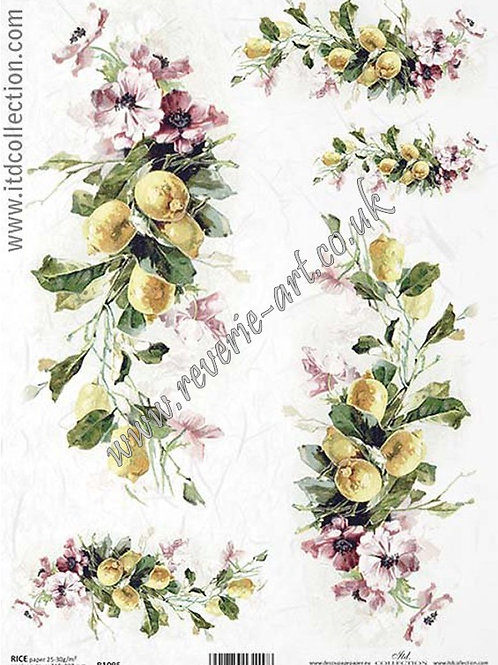 A4 rice paper R1095 Flowers and fruits Lemons