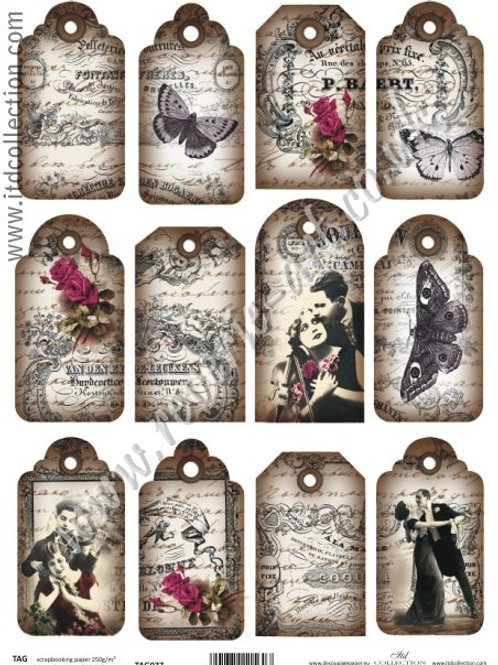 Scrapbooking and craft paper A4 - TAG vintage 037