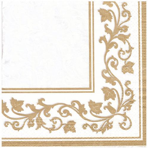 Napkins N1160 Lunch size 33x33cm Gold floral corner pattern