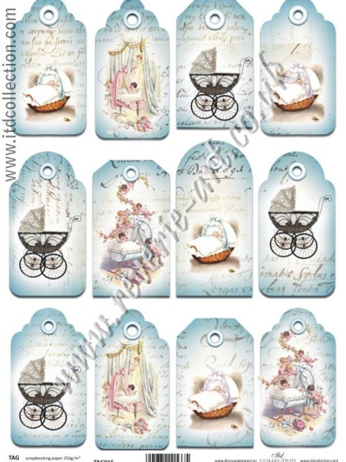Scrapbooking and craft paper A4 - TAG vintage baby 015