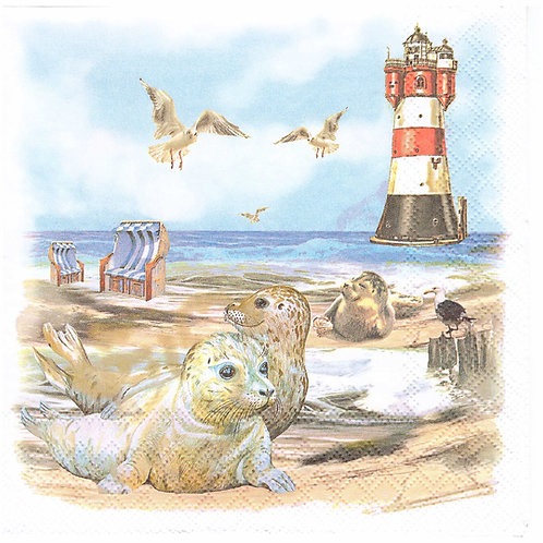 Napkins N1009 Lunch size 33x33cm Sea, seaside, seagulls, landscape, beach, lighthouse, seal