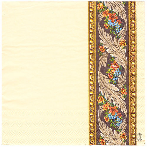 Napkins N1154 Lunch size 33x33cm Cream ornate flowers striped pattern