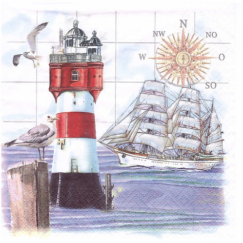 Napkins N1012 Lunch size 33x33cm Sea, seaside, seagulls, landscape, lighthouse, sailing ship