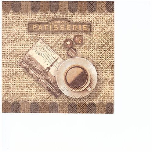 Napkins C048 cocktail size 25x25cm Patisserie, Paris coffee
