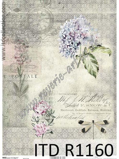A4 rice paper R1160 Vintage flowers hydrangea