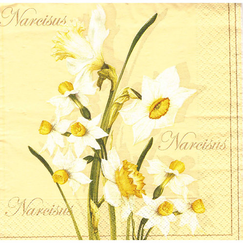Napkins N1089 Lunch size 33x33cm Flowers narcisus spring