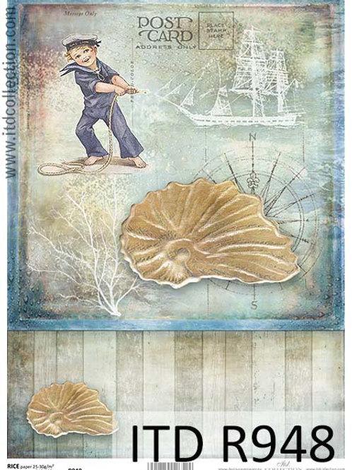 A4 rice paper R948 Vintage sea
