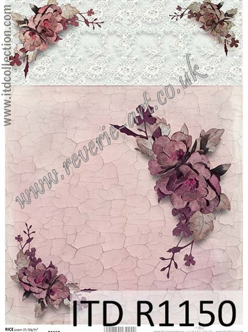A4 rice paper R1150 Vintage roses