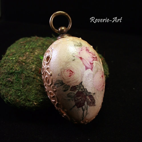 Vintage roses - hand decorated  goose egg with metal hook