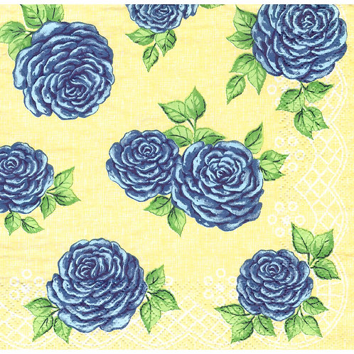 Napkins N1120 Lunch size 33x33cm Flowers roses blue