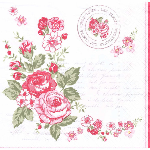 Napkins N1115 Lunch size 33x33cm Flowers Roses pink stamp