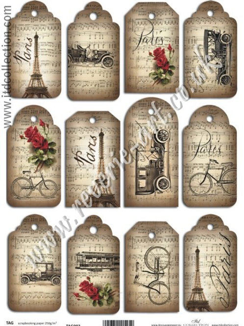 Scrapbooking and craft paper A4 - TAG vintage Paris 003