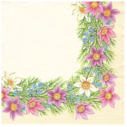 Napkins Lunch size 33x33cm Spring flowers