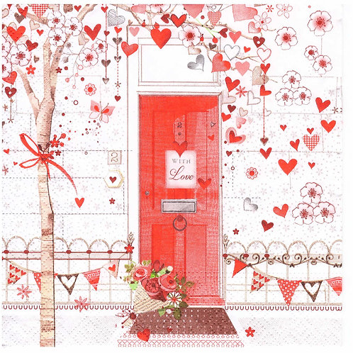 Napkins N989 Lunch size 33x33cm Heart tree and red door