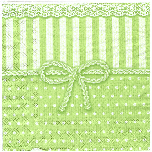 Napkins N1137 Lunch size 33x33cm Stripes and dots green
