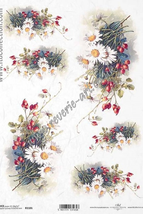 A4 rice paper R1101 Autumn flowers