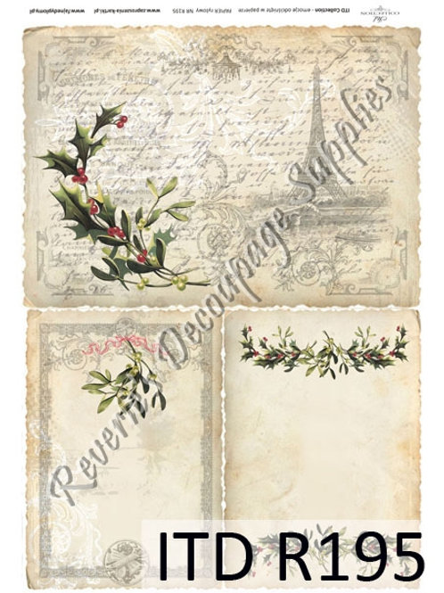 A4 rice paper R195 vintage Paris Christmas