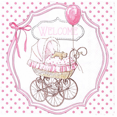 Napkins N996 Lunch size 33x33cm Welcome baby girl, babyshower