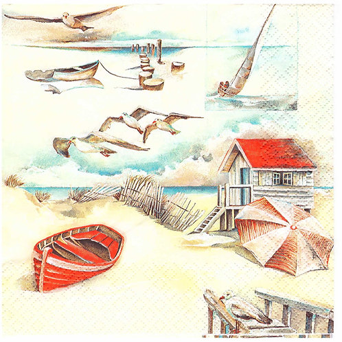 Napkins N1006 Lunch size 33x33cm Sea, seaside, seagulls, landscape, beach
