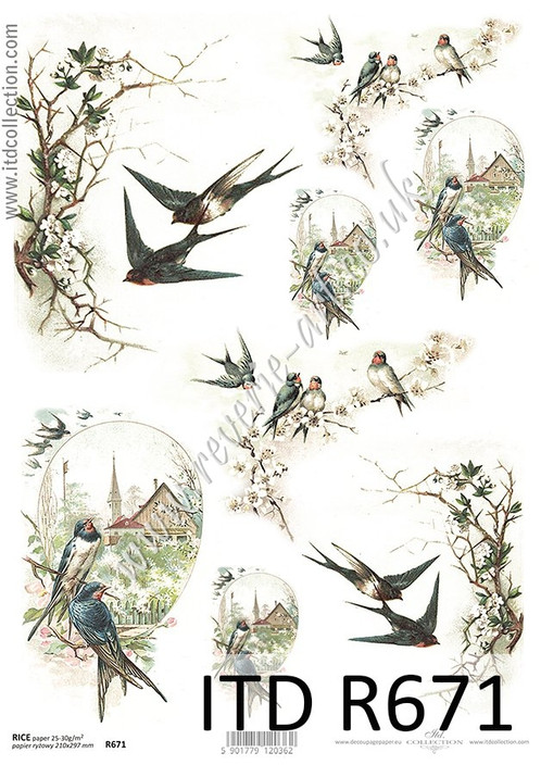 ITD A4 Rice Paper For Decoupage R671 Vintage Spring Birds