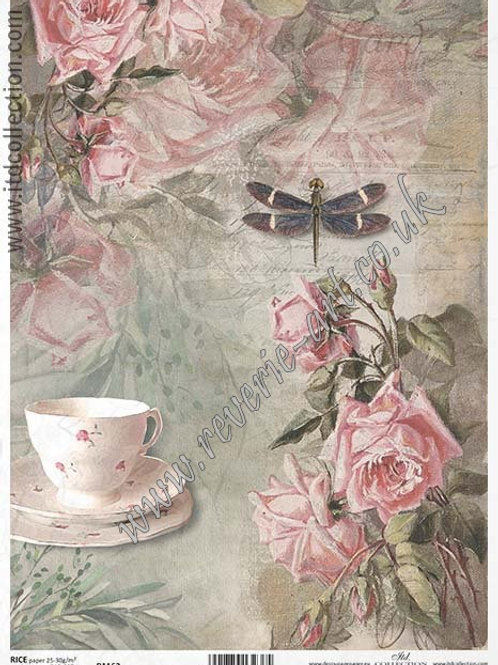 A4 rice paper R1162 Vintage roses and dragonfly