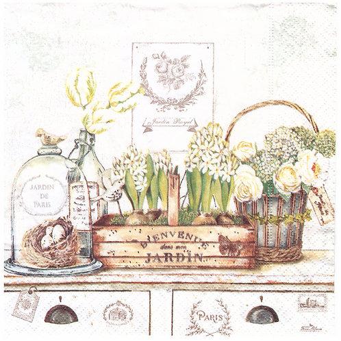 Napkins N1021 Lunch size 33x33cm Jardin de Paris flowers spring