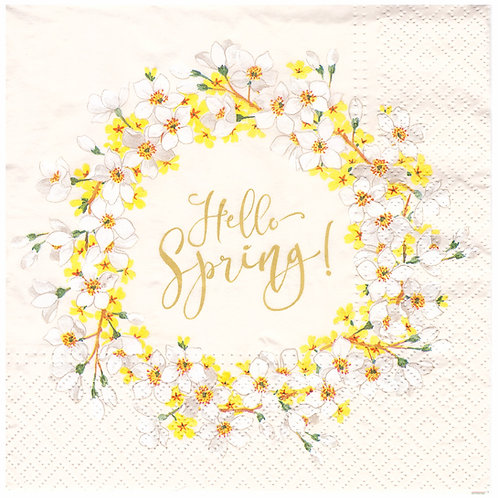 Napkins N1180 Lunch size 33x33cm Hello Spring wreath flowers