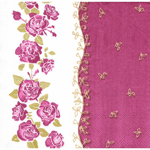 Napkins N1129 Lunch size 33x33cm Flowers roses pink