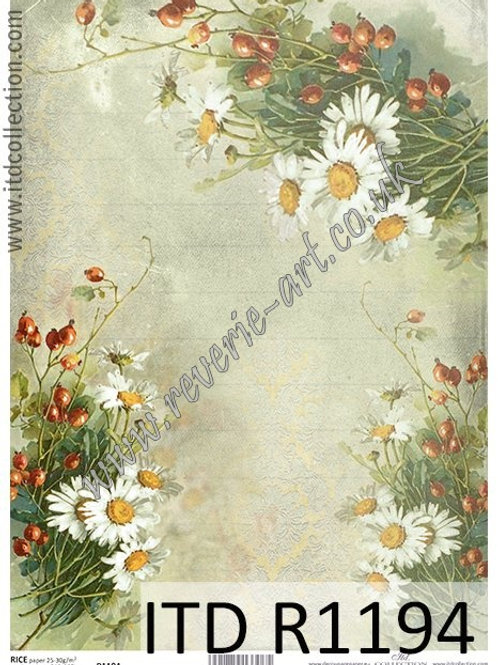 A4 rice paper R1194 Vintage flowers and fruits, lemons