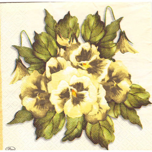 Napkins N1083 Lunch size 33x33cm Flowers yellow pansies