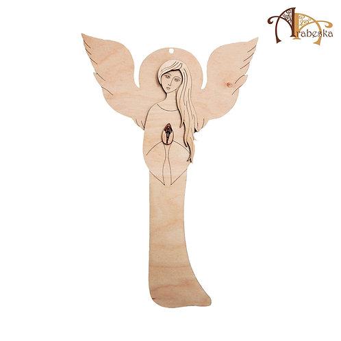 Angel 40cm birch plywood, hanging plaque