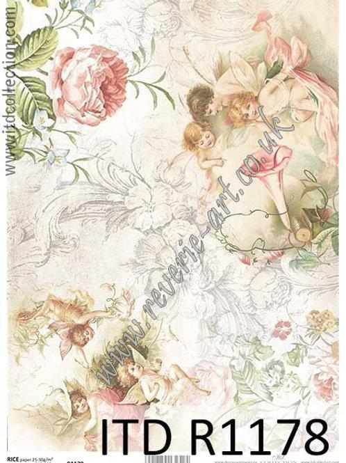 A4 rice paper R1178 Vintage roses an fairies