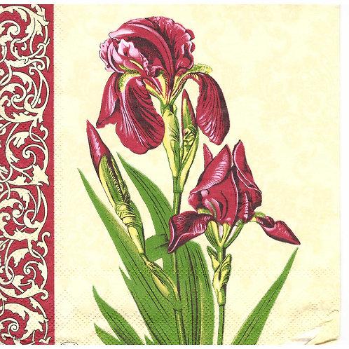 Napkins N1090 Lunch size 33x33cm Flowers irises