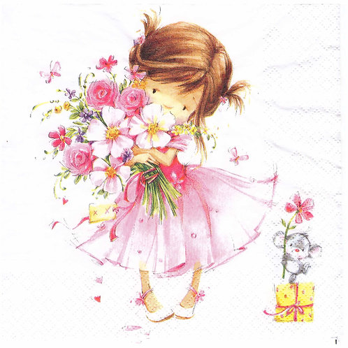 Napkins N999 Lunch size 33x33cm Little princess, girl in pink, birthday